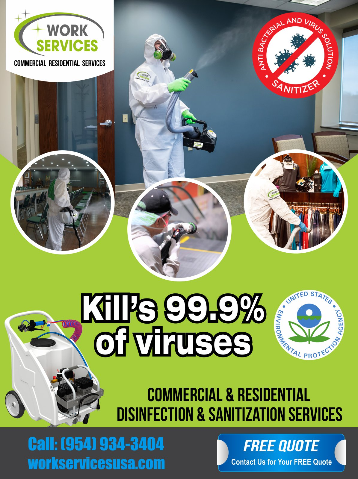 sanitize and disinfect surfaces and environments